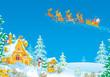 Santa flies in the sledge with reindeers