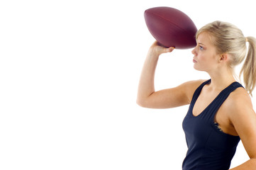 Blond Woman Passing the Football