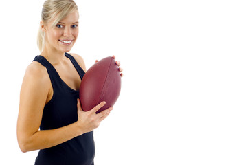 Beautiful Blond Gril with a  Football