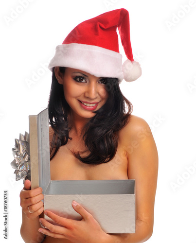 Sexy cute Santa woman in red hat