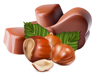 Photorealistic vector illustration. Chocolates and hazelnuts.