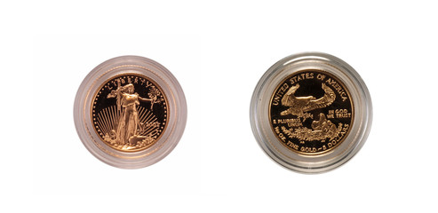 US gold coin, obverse and reverse