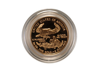 US gold eagle coin, isolated