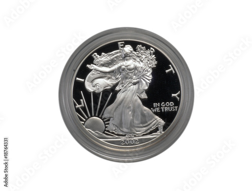 Silver Eagle coin isolated