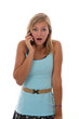 Teen girl expressing surprise on a cell phone