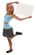 Teen girl holding a blank sign