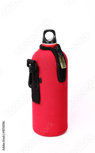 Red thermos for diving isolated on white background