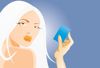 woman wtih card