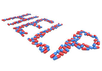 Help - Word in Red and Blue Capsules