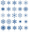 Vector collection of snowflake shapes isolated. Set 2.