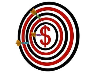 Dartboard dollar with darts