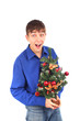 cheerful teenager with christmas tree