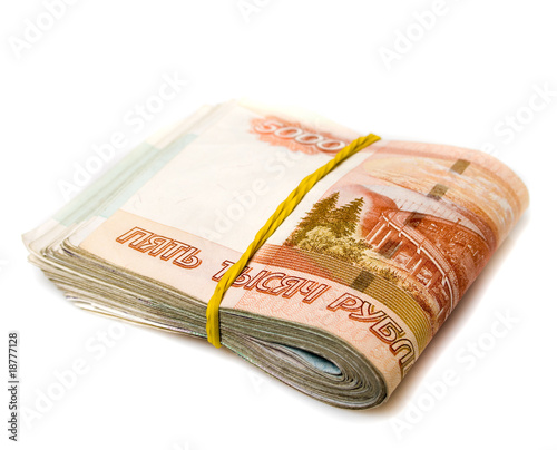 pack of russian money isolated