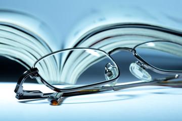 Journal and eyeglasses