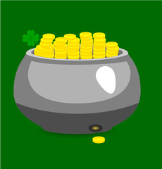 Pot with gold coin. St Patrick's day.