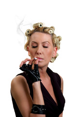 The smoking girl on a white background