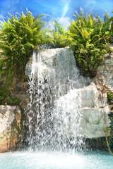 Mountain waterfall in malaysia rainforest.Langkawi.