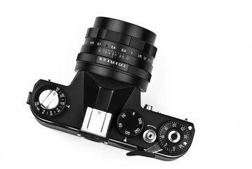 Photographic camera isolated on white