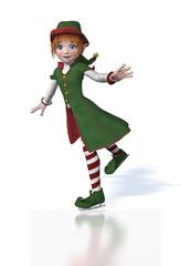 Cute Christmas Elf Ice Skating