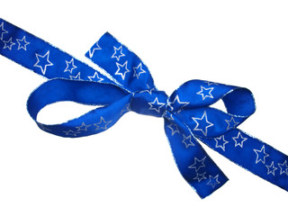 Blue ribbon with silver stars isolated on white