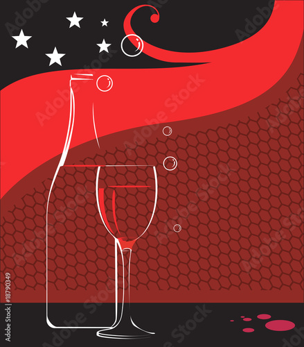 Illustration of wine glass and wine bottle with stars