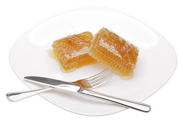 honeycomb on white plate isolated on white