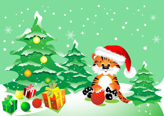 A Tiger with Christmas gifts in the winter woods