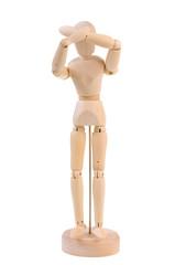 Wooden manequin in pain