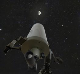 Teleskop und Sternenhimmel