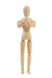 Begging wooden manequin poster