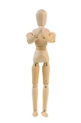 Begging wooden manequin