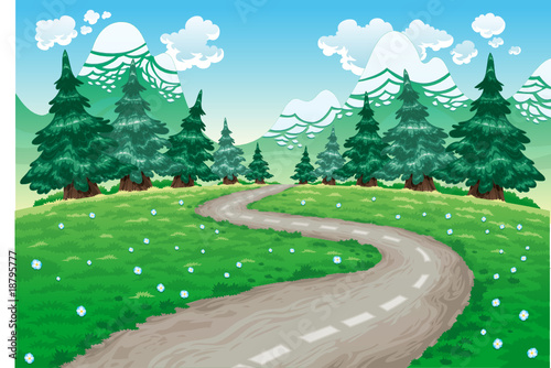 Keuken foto achterwand Bosdieren Landscape in nature. Cartoon and vector illustration.