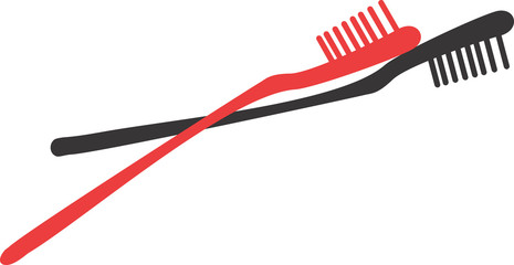 Illustration of red and black toothbrushes