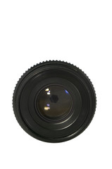 Old lens on white with clipping path