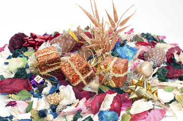 Detail of dried scented flowers with Christmas decorations