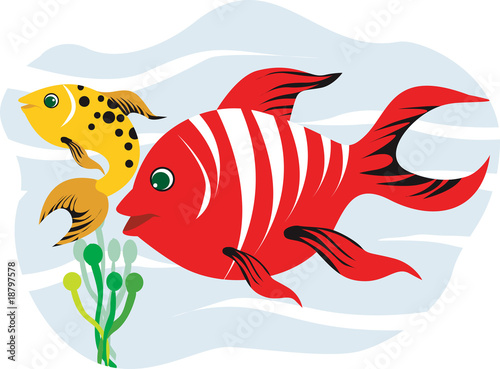 Illustration of red and yellow fishes