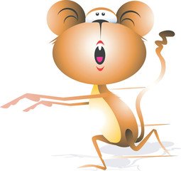 Illustration of a Monkey running with tail up