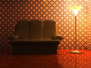 sofa in cosiness yellow evening room