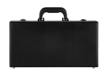 Black suitcase on white