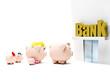 Piggybank family at the bank