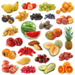 Fruits collection isolated on white background