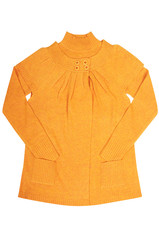 Modern  yellow tunic and sweater on a white.