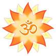 Mandala Om-Symbol Aum Zeichen, rot orange gelb Blume