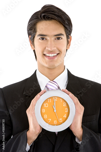 Business man with a clock