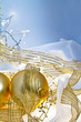 Gold and Blue Christmas Baubles Background