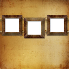 Three gold frames Victorian style on the wall