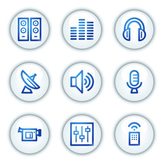 Media web icons, white circle buttons series