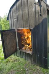 Wood Boiler in Operation