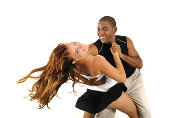 Multiracial couple dancing isolated