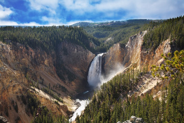 The well-known Yellowstone falls